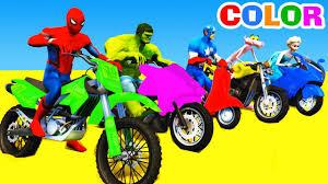 learn color motorbike bus spiderman cars cartoon kids