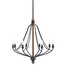 Kichler Lighting Chandelier Kichler Lighting Carlotta 8 Light Distressed Black Wood Hardwired