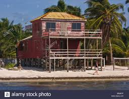 caye caulker belize wooden house on stilts on the beach stock
