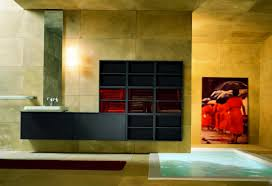 modern style bathroom decorated with yellow ceramic wall paint