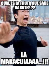 Karate Memes - cual es la fruta que sabe karate angry asian meme on memegen