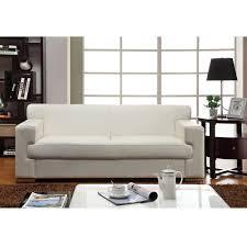 canapé 3 places cuir blanc cubo canapé fixe 3 places croûte de cuir et simili 193x89x74