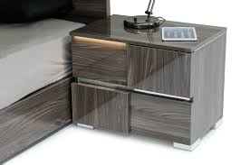 Lacquer Bedroom Set by Picasso Italian Modern Grey Lacquer Nightstand W Led Light