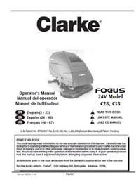 part manual for clarke focus ii walk scrubber