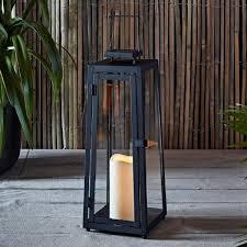 grande lanterne solaire en métal noir avec bougie led pour jardin