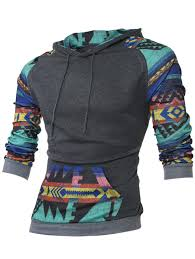 hoodies deep gray m raglan sleeve kangaroo pocket tribal print