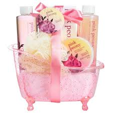 Bathroom Gift Baskets Pink Peony Tub Bath Spa Gift Set U2013 Freida U0026 Joe