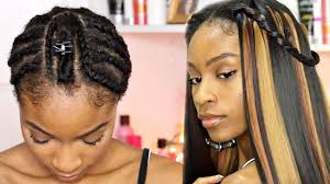 cornrows hairstyle with part in the middle braid pattern for middle part u part wig with leave out youtube