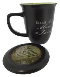 amazon com man of faith mug u0026 coaster set religious gifts