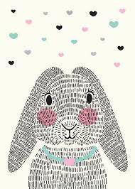 rabbit poster damit mr rabbit nicht alleine ist sparkling paper poster mrs
