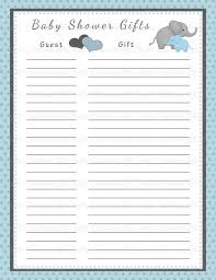 gift list baby shower gift list printable baby shower party