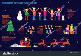 christmas infographic elements flat style happy stock vector