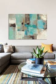 Livingroom Art Teal U0026 Aqua Reflections 2 By Silvia Vassileva Canvas Wall Art