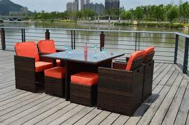 Rattan Patio Dining Set Sunbrella 9 Outdoor Wicker Rattan Patio Dining Table Set