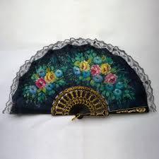 held fans vintage floral lace fabric held fans folding fans