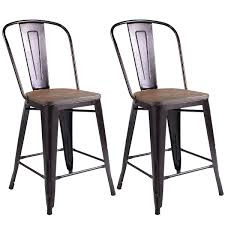 Counter Chairs Costway Copper Set Of 2 Metal Wood Counter Stool Kitchen Dining