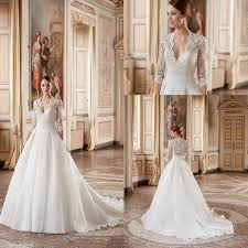 discount 2017 eddy k classic wedding dresses v neck 3 4 sleeve a