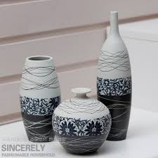 Vase Sets Idyllic Three Set Decoration Of Ceramic Art Crafts Line Art Modern