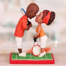 tennis cake topper kissing tennis players theme figurines