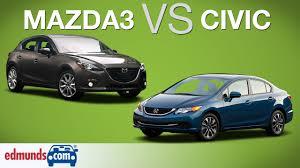 2014 honda civic vs 2014 mazda3 edmunds a rated compact cars