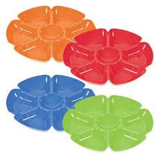 bright plastic flower shaped veggie u0026 dip trays red amazon co