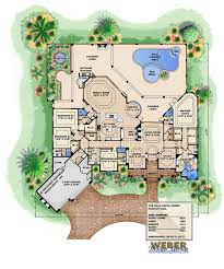 one story mediterranean house plan luxury tuscan design pool detail