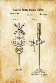Train Decor Railroad Crossing Sign Patent 1936 Locomotive Trains Railroad