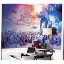 star wars full cast wall mural room mates xl murals star wars full cast chair rail wall decal jl1230m