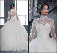 2016 newest winter fall wedding dresses a line high neck long