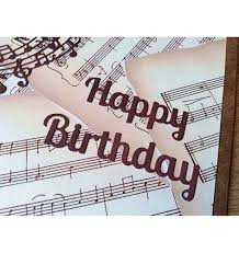 birthday card musical score and retro record player