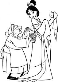 grandmother fa helps mulan dressed coloring