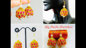 pachi earrings how to make pachi style jhumkas silk thread earrings pachi model
