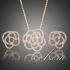 rose gold necklace earrings images Online cheap azora fashion design 18k rose gold plated small aaa jpg