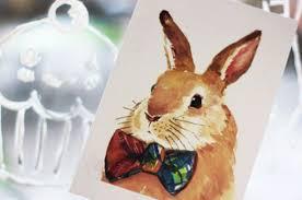 Craft Invitation Card 8 Piece Drawing Bunny Rabbit Postcard Set Greeting Invitation Card