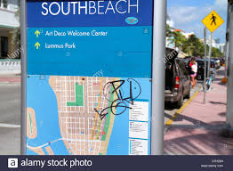 Miami Beach Map Miami Beach Florida Ocean Drive Sign Information Map Graffiti