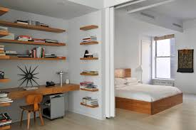 Desk Shelving Ideas Bright Floating Bookshelves Look New York Contemporary Bedroom