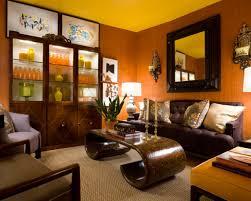 natural elegant design orange wood floor room that has brown sofas