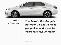 how many per gallon does a toyota corolla get toyota s most fuel efficient vehicles 2017