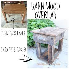 upcycled junk table with old wood overlay woods handmade