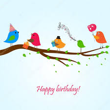 birthday card with birds with flowers and gifts stock