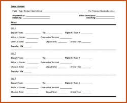 travel itinerary template sop example