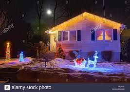 christmas lights decorations on house in snow mohawk valley new