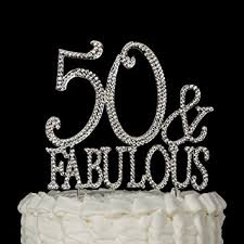 amazon com 50 u0026 fabulous cake topper silver for 50th birthday