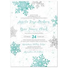 snowflake wedding invitations winter wedding invitation turquoise silver snowflake