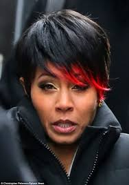 hairstyles suitable for 42 year old woman jada pinkett smith shows off red tipped ends the style news network