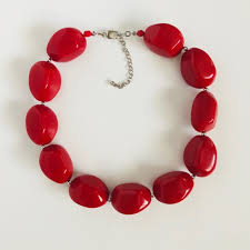red big necklace images Jewelry red large bead statement necklace poshmark jpg