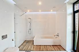 modern white bathroom in the style of minimal timber floor