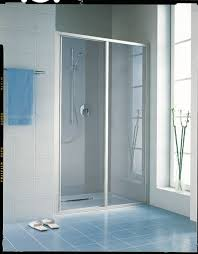 kermi ibiza 2 part slider door 2000 x 1200mm matt clear plumb center