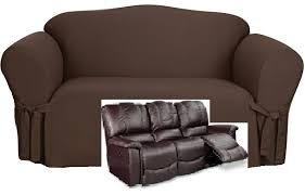 Sure Fit Dual Reclining Sofa Slipcover Dual Reclining Sofa Slipcover Cotton Chocolate Sure Fit Recliner