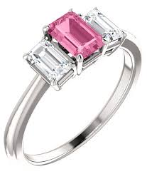 sapphire emerald cut engagement rings pink sapphire emerald cut 1 2 carat ring in 14k white gold